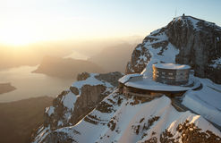 Montagem Pilatus com lago Lucerne Imagem de Stock