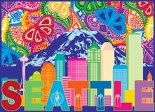 Montagem Rainier Text Paisley Pattern Color IL da skyline da cidade de Seattle Imagens de Stock Royalty Free