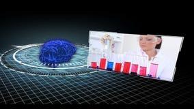 Montagen av medicinsk forskning fäster ihop rörande runt om att kretsa hjärnan arkivfilmer