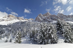 Montagens das dolomites no inverno Imagem de Stock Royalty Free