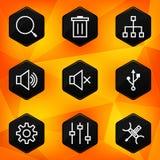 Montages. Hexagonale die pictogrammen op abstracte oranje B worden geplaatst Stock Foto's