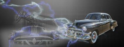 Montaggio d'annata dell'automobile Fotografie Stock Libere da Diritti