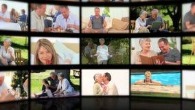 Montaggio degli anziani nelle situazioni differenti stock footage