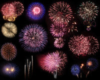 Montaggio dei fuochi d'artificio Fotografie Stock Libere da Diritti