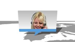 Montaggio dei lavoratori internazionali di servizio di assistenza al cliente stock footage