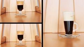 Montaggio del cocktail del caffè sulla tavola video d archivio