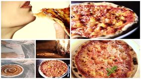 Montaggio delizioso della pizza stock footage