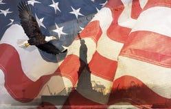 Montaggio dell'aquila e della bandiera americana Fotografie Stock Libere da Diritti
