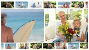 Montaggio delle famiglie differenti che godono insieme dei momenti video d archivio