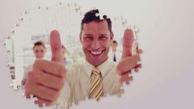 Montaggio di affari con i lavoratori felici video d archivio