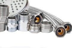 Montaggio, tubo e doccia dell'impianto idraulico Fotografia Stock Libera da Diritti