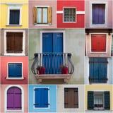 Montaghe das janelas de Colurful de Caorle Imagens de Stock