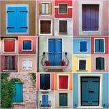Montaghe delle finestre di Colurful da Caorle Fotografie Stock