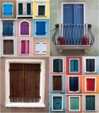 Montaghe delle finestre di Colurful da Caorle Immagine Stock Libera da Diritti