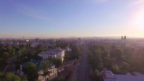 Montagna aerea di Photography Mattina di grande città Estate irkutsk video d archivio