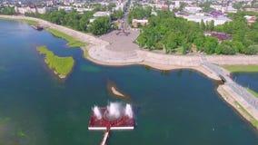 Montagna aerea di Photography Paesaggio della città da sopra Estate irkutsk video d archivio