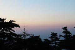 Montagna al tramonto, Xian, Cina di Huashan Fotografie Stock