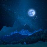 Montagna alla luce di luna Fotografia Stock Libera da Diritti