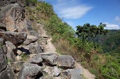Montagna antica che scolpisce vicino a San Agustin Archeological Park Fotografie Stock Libere da Diritti