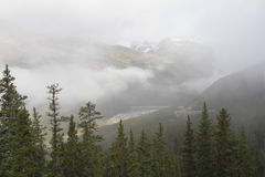 Montagna avvolta dalla nebbia - Jasper National Park, Canada Immagini Stock
