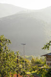 Montagna bagnata sul confine della Serbia e della Bosnia Immagini Stock Libere da Diritti