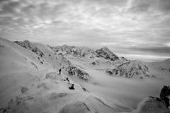 Montagna in bianco e nero Fotografia Stock