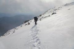 Montagna che fa un'escursione nella neve immagine stock