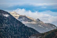 Montagna con le alpi della neve con gli alberi ed il cielo blu fotografia stock libera da diritti