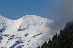 montagna con neve e nebbia Immagine Stock