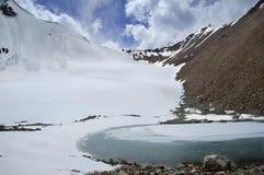 montagna congelata del lago fotografia stock