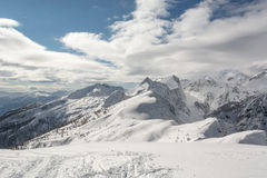 Montagna coperta in neve di linea di albero visibile Fotografie Stock