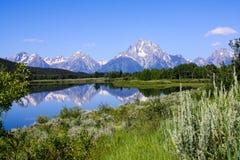 Montagna dallo stagno al grande parco nazionale Wyoming di Teton fotografia stock libera da diritti