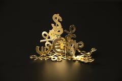 Montagna dei simboli dell'oro del dollaro, euro, la percentuale immagini stock