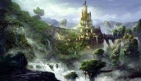 Montagna del castello con stile fantastico, realistico e futuristico illustrazione vettoriale