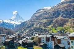 Montagna del Cervino nella località di soggiorno di Zermatt, alpi svizzere, Svizzera Fotografia Stock Libera da Diritti