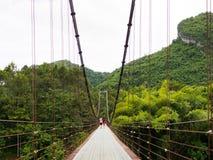 Montagna del cuore del ponte di corda a Surat Thani, Tailandia Fotografia Stock