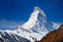 Montagna del Matterhorn di zermatt Svizzera Fotografie Stock Libere da Diritti
