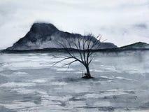 Montagna del paesaggio dell'inchiostro dell'Asia dell'acquerello l'uomo illustrazione vettoriale