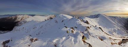 Montagna del paesaggio di inverno di panorama, Slovacchia Fotografia Stock Libera da Diritti