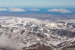 Montagna dell'Islanda di vista aerea durante la stagione invernale Fotografie Stock Libere da Diritti