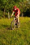 montagna dell'uomo della bici Immagine Stock Libera da Diritti