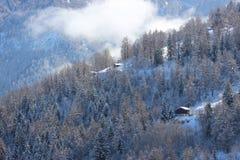 Montagna della neve di Nendaz Fotografie Stock