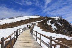 Montagna della neve di Shika della valle della luna blu a Shangri-La, il Yunnan, Ch fotografie stock libere da diritti