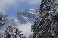 Montagna della neve nella nuvola Fotografia Stock Libera da Diritti