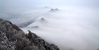 Montagna della neve nelle nubi Fotografia Stock