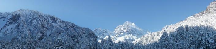 Montagna della neve panoramica fotografie stock libere da diritti