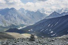 Montagna di Belukha, vista dal passaggio Karatyurek altai Immagine Stock Libera da Diritti
