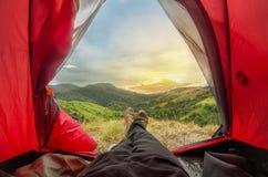 Montagna di campeggio Fotografia Stock Libera da Diritti