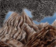 Montagna di fumo del vulcano Fotografia Stock Libera da Diritti