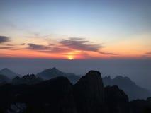 Montagna di Huangshan ad alba Immagini Stock Libere da Diritti